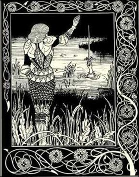 Bediver lanza Excalibur a las aguas, por A. Bearsdley