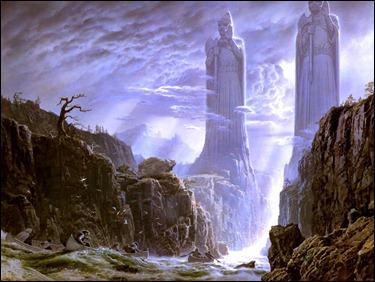 Argonath sobre el río Anduin, por Ted Nasmith