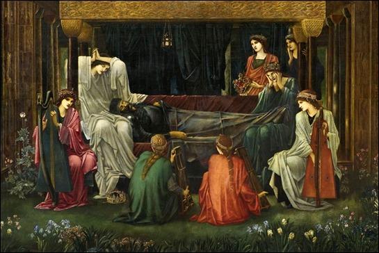 El último sueño de Arturo en Avalon, por Burne-Jones