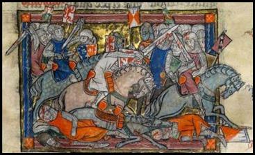 Miniatura medieval de Arturo en lucha con los sajones