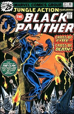 Pantera Negra crucificado por el Klan, portada de John Romita