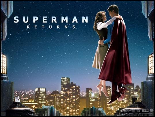 Superman y Lois Lane sobre los cielos de Metrópolis
