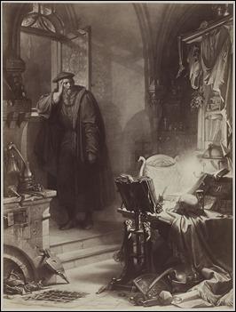 Fausto en su estudio, por Kreling