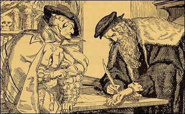 Fausto firma el pacto con su misma sangre