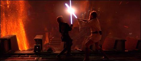 La lucha final de Anakin y Obi-Wan en el planeta volcánico