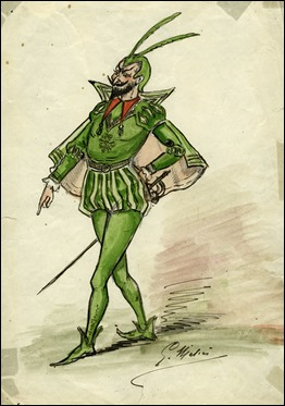 Mefistófeles, dibujo para la película Damnation du docteur Fausto, de 1904