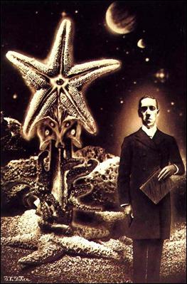 H.P. Lovecraft y un Antiguo, portada de J.K. Parker para la revista Heavy Metal