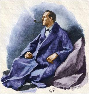 Bonita y clásica ilustración de Holmes, por S. Paget