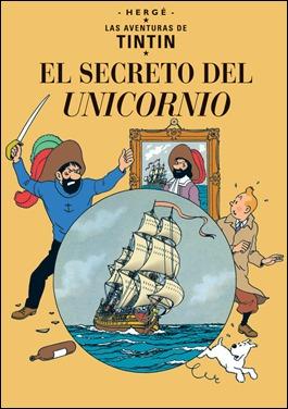 El secreto del unicornio, portada de Hergé