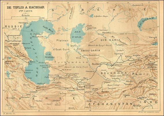 Mapa del Asia Central incluido en la edición original de Claudius Bombarnac