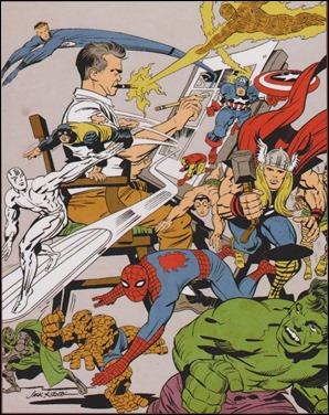 Caricatura del mismo Jack Kirby y sus creaciones
