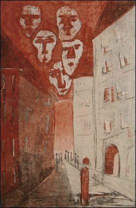 Ilustración de Elke Rehder para una edición alemana de El proceso