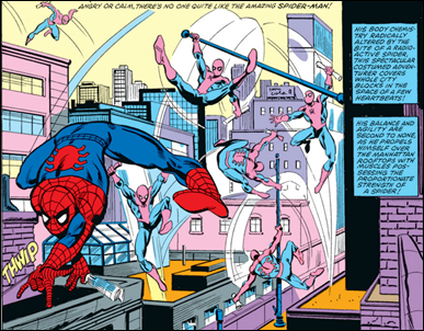 Spiderman recorriendo las calles de Nueva York, por John Romita jr y Jim Mooney