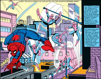 Spiderman recorriendo las calles de Nueva York, por John Romita jr y Jim Mooney