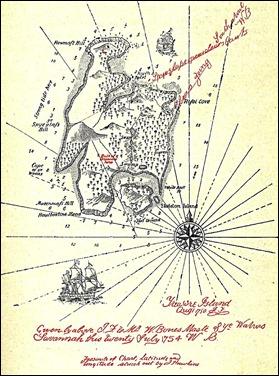 El famosísimo mapa de la isla del tesoro, dibujado por el mismo Stevenson