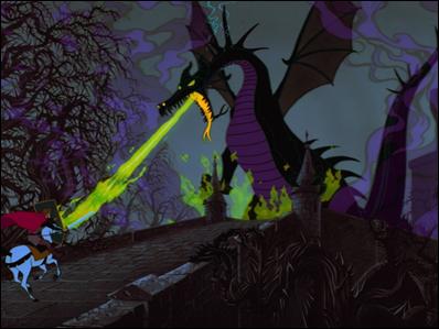 El príncipe acomete al dragón, en La Bella Durmiente, de Disney