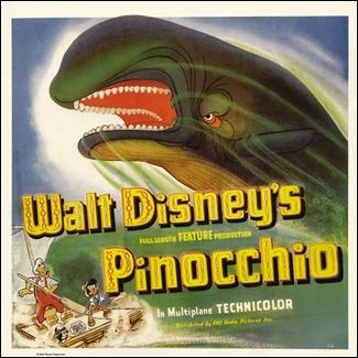 Estupendo poster de Pinocho con la ballena Monstro como reina del cartel