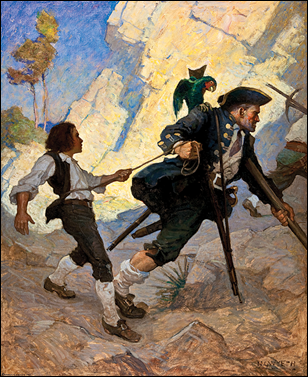 Jim Hawkins y Long John Silver, por N. C. Wyeth