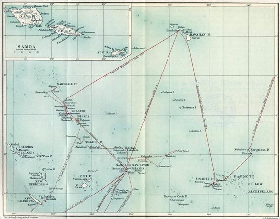La trayectoria de Stevenson por las islas del Pacífico