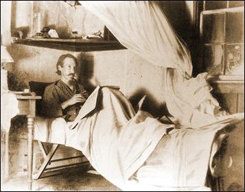Stevenson en su casa de Samoa