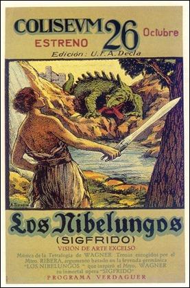 Antiguo cartel español de la película de Fritz Lang Los nibelungos