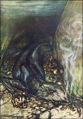 El dragón Fafnir, según Arthur Rackham