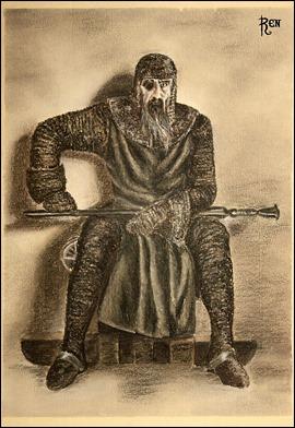 Ilustración de Hagen a partir de la película de Fritz Lang sobre Los nibelungos