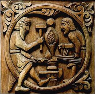 Regin forja la espada de Sigurd, talla de la iglesia de Fran Hylestad, c. 1175