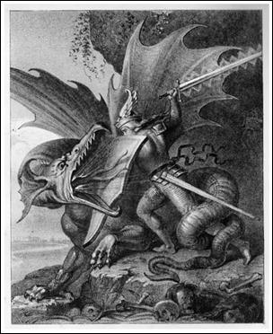 Sigfrido lucha con Fafnir. Grabado de W. Kaulbach, 1848