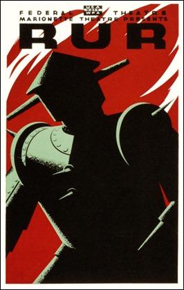 Cartel anunciador de la obra R.U.R. de Karel Capek