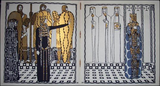 Ilustración de Carl Otto Czeschka sobre Los nibelungos