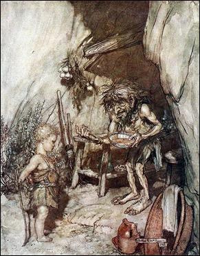 Mime y el niño Sigfrido, por Arthur Rackham