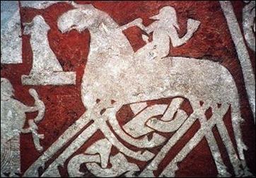 Odín en su caballo de ocho patas Sleipnir, en la Piedra de Tjangvide
