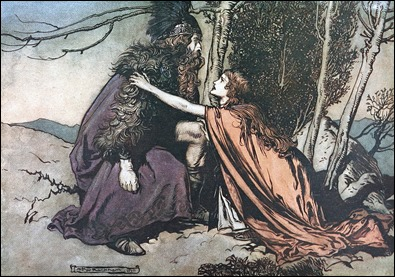 Wotan y Brunilda, por Arthur Rackham