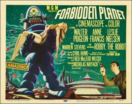 Engañoso poster de Planeta Prohibido, con Robby en plan amenazador