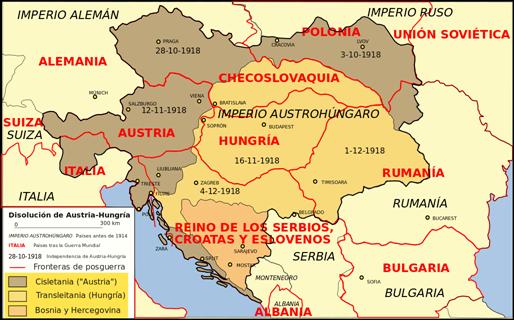 El mapa de la disolución del imperio austro-húngaro