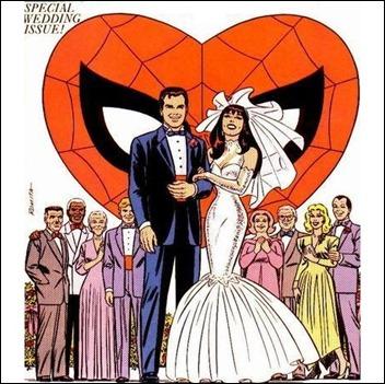 La boda de Peter Parker y Mary Jane Watson, por John Romita