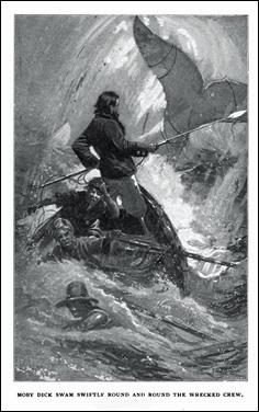 Moby Dick hundiendo a sus perseguidores