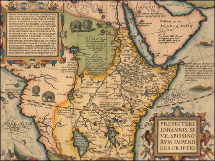 El mapa de Ortelius de 1564 con el imperio del Preste Juan en Etiopía