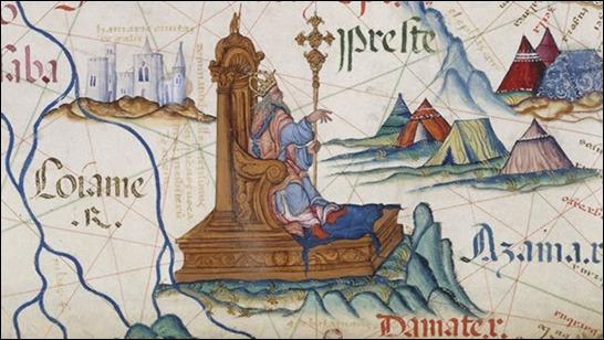 El Preste Juan en un mapa inglés de 1558