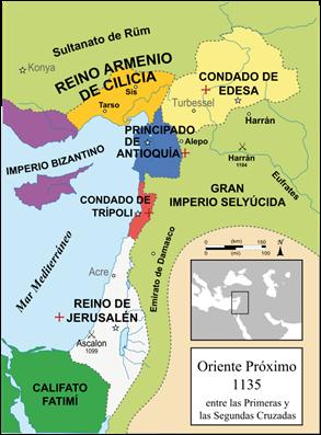 Mapa de los reinos cristianos de Tierra Santa tras la Primera Cruzada