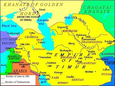 Mapa del imperio timúrida, en 1405