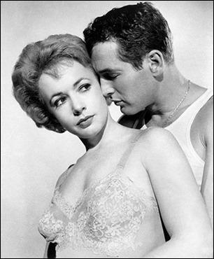 Paul Newman y Piper Laurie como Eddie Felson y Sarah Packard