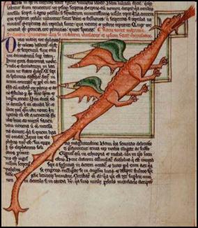 Un dragón en una miniatura medieval