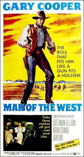 Cartel americano de El hombre del Oeste, que subraya su condición fantasmal