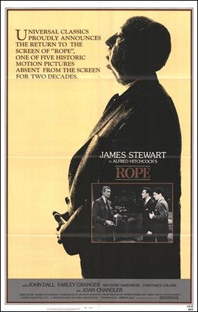Un poster de Rope que se centra en su director, Alfred Hitchcock