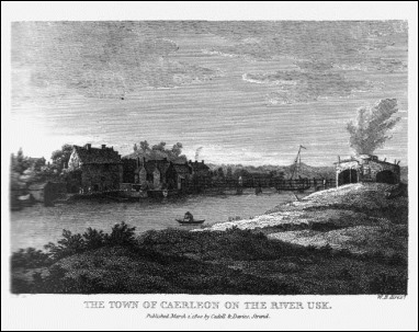 Caerleon on Usk, según un grabado de 1800
