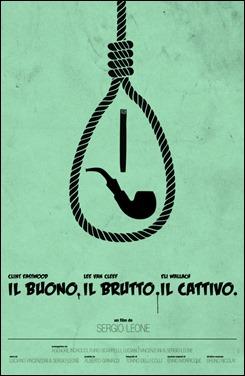 Estupendo poster minimalista de El bueno, el feo y el malo por Christoph Langgut