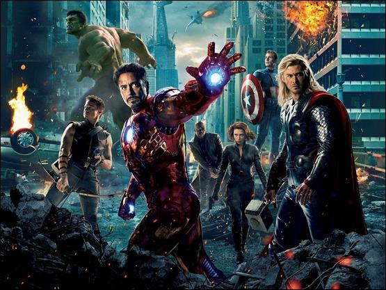 Poster promocional de Los Vengadores, con Iron Man chupando plano