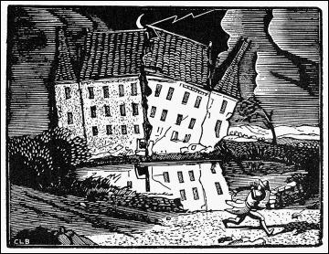 Ilustración de la Casa Usher por Constant le Breton